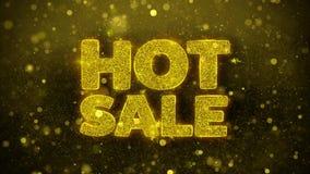 La venta caliente desea la tarjeta de felicitaciones, invitación, fuego artificial de la celebración