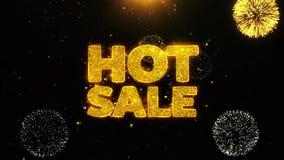 La venta caliente desea la tarjeta de felicitaciones, invitación, fuego artificial de la celebración colocado