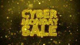 La venta cibernética de lunes desea la tarjeta de felicitaciones, invitación, fuego artificial de la celebración