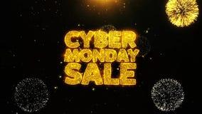 La venta cibernética de lunes desea la tarjeta de felicitaciones, invitación, fuego artificial de la celebración colocado