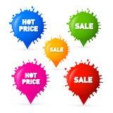 La venta colorida del vector, manchas blancas /negras calientes del precio, salpica etiquetas Imagenes de archivo