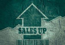 La venta crece la flecha y el código de barras Fotografía de archivo
