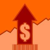 La venta crece la flecha y el código de barras Imágenes de archivo libres de regalías