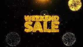 La venta de fin de semana desea la tarjeta de felicitaciones, invitación, fuego artificial de la celebración colocado