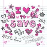 La venta de las compras de nuevo a escuela Doodles diseño del vector Fotografía de archivo libre de regalías