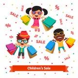 La venta de los niños Niños sonrientes y de saltos felices stock de ilustración