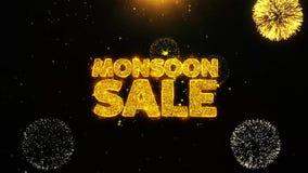 La venta de la monzón desea la tarjeta de felicitaciones, invitación, fuego artificial de la celebración colocado