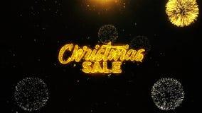 La venta de la Navidad desea la tarjeta de felicitaciones, invitación, fuego artificial de la celebración colocado