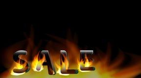 La venta de la palabra en el fuego Plantilla del diseño de la venta en fondo negro Fotos de archivo libres de regalías