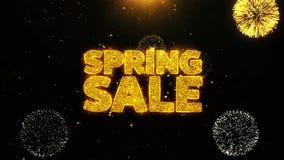La venta de la primavera desea la tarjeta de felicitaciones, invitación, fuego artificial de la celebración colocado