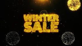 La venta del invierno desea la tarjeta de felicitaciones, invitación, fuego artificial de la celebración colocado