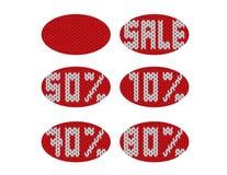 La venta del invierno hizo punto etiquetas redondas rojas y blancas libre illustration