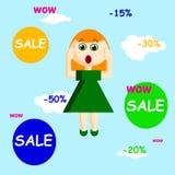 La venta del wow firma con una muchacha en un estilo plano, ejemplo del vector Fotos de archivo libres de regalías