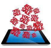 La venta descuenta 3D en la PC de la tablilla del ordenador Fotografía de archivo