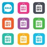 La venta descuenta iconos Muestras de la oferta especial ilustración del vector
