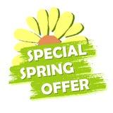 La venta especial de la primavera con la flor, pone verde la etiqueta exhausta Imagenes de archivo