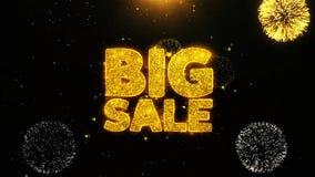 La venta grande desea la tarjeta de felicitaciones, invitación, fuego artificial de la celebración colocado