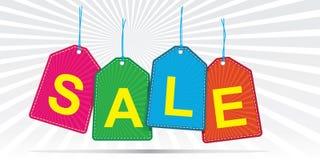 La venta marca el fondo del vector con etiqueta Imágenes de archivo libres de regalías