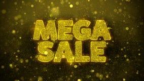 La venta mega desea la tarjeta de felicitaciones, invitación, fuego artificial de la celebración