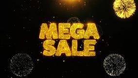 La venta mega desea la tarjeta de felicitaciones, invitación, fuego artificial de la celebración colocado