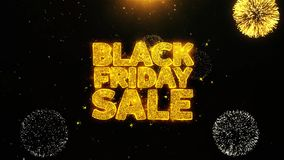 La venta negra de viernes desea la tarjeta de felicitaciones, invitación, fuego artificial de la celebración colocado