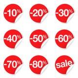 La venta roja etiqueta descuento y la promoción Foto de archivo