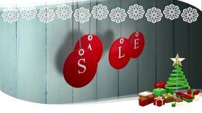 La venta roja marca la ejecución con etiqueta contra la madera con la frontera festiva ilustración del vector
