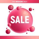 La venta roja y púrpura desing con 3d burbujea libre illustration