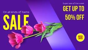 La venta, venta del verano, consigue su descuento Anuncio horizontal con un ramo de tulipanes en un fondo coloreado Plantilla par Fotografía de archivo libre de regalías
