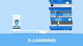 La ventaja en línea de la educación de E-Laerning del ejemplo conceptual móvil del vector señala Smartphone Y pila de libros en e Fotografía de archivo libre de regalías