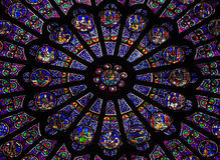 La ventana de Rose del norte en la catedral de Notre Dame, París Foto de archivo