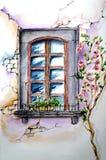 La ventana en una pared vieja con tejer subió Fotografía de archivo