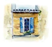 La ventana es mediterránea Ejemplo dibujado mano de la acuarela stock de ilustración
