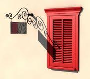 La ventana y el letrero rojos en verano fuerte se encienden Fotos de archivo