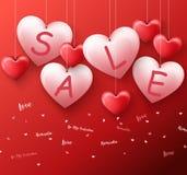La vente accrochante de coeur monte en ballon pour la promotion de jour de valentines à l'arrière-plan rouge Images stock