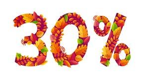 La vente d'automne de vecteur 30 pour cent outre de remise avec la chute orange laisse en nombre des formes illustration de vecteur