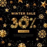 La vente d'hiver 30 pour cent, bannière avec de l'or 3d se tient le premier rôle et des flocons de neige Images stock