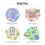 La vente de Digital a coloré l'ensemble d'icône Image stock