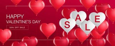 La vente de jour du ` s de Valentine, bannière de calibre, coeurs monte en ballon Photographie stock