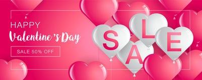La vente de jour du ` s de Valentine, bannière de calibre, coeurs monte en ballon, vecteur Illu Photos stock