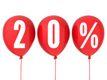 la vente de 20% se connectent les ballons rouges Photo stock