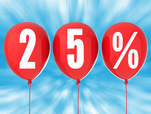 la vente de 25% se connectent les ballons rouges Photo libre de droits