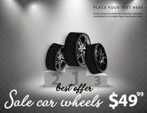 La vente de vecteur roule l'affiche de publicité illustration 3D de pneu de voiture Roue Pneu en caoutchouc noir Voiture brillant illustration libre de droits