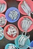La vente des poissons sur le marché de fruits de mer photos stock