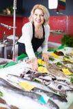 La vente femelle de substance de boutique a refroidi sur des poissons de glace dans le supermarché photo stock