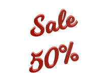 La vente 50 pour cent escomptent l'illustration rendue par 3D calligraphique des textes de couleur rouge Photographie stock