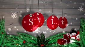 La vente rouge étiquette accrocher contre le bois avec les décorations de fête illustration de vecteur