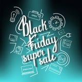 La vente superbe de Black Friday d'expression manuscrite sur un bleu avec des icônes Image libre de droits