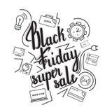 La vente superbe de Black Friday d'expression manuscrite sur un fond de gémissement avec des icônes Photo stock