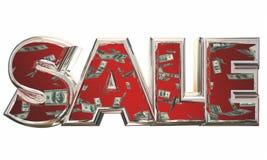 La vente Word épargnent les dollars en baisse d'argent Image libre de droits